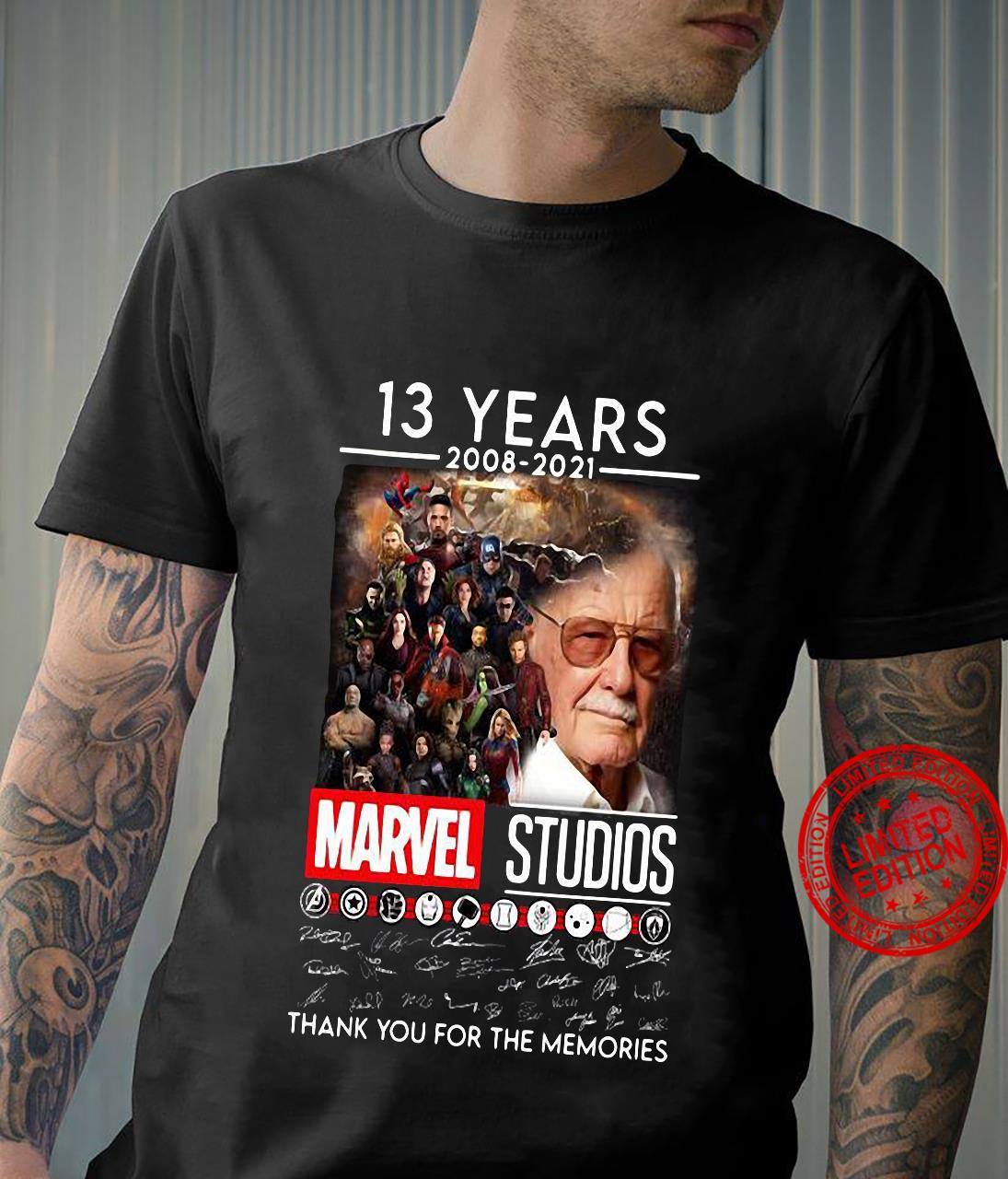 13 Years 2008 2021 Marvel Studios Thank You For The Memories shirt