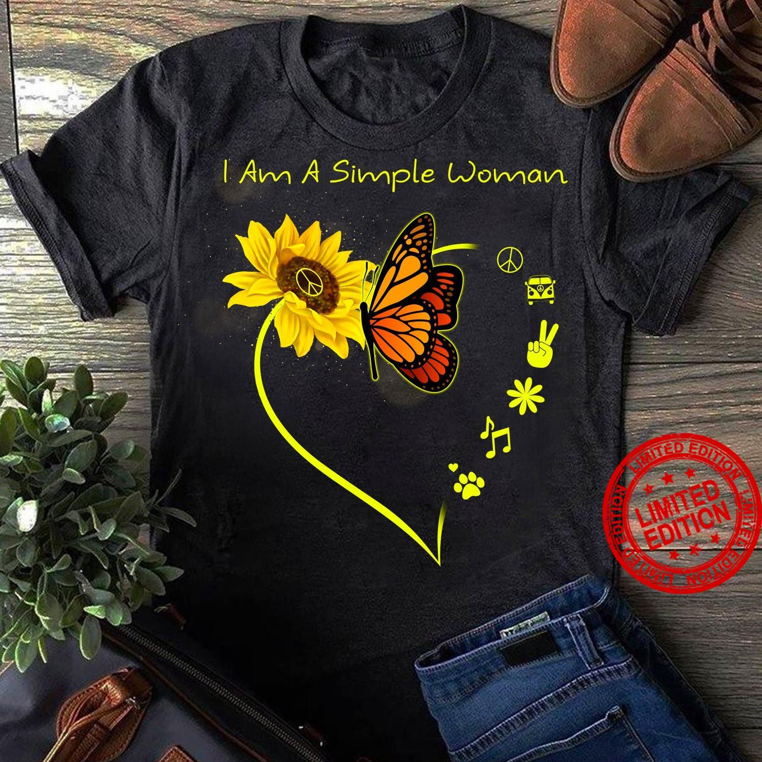 I Am A Simple Woman I Love Peace Camping Flower Music Dog Shirt