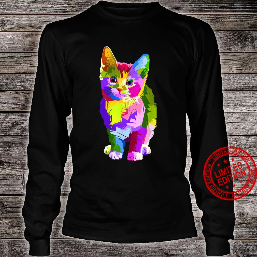 Psychedelic Rave Edm Cute Kitten Shirt long sleeved